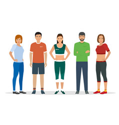 group of people in sportswear for sports vector image