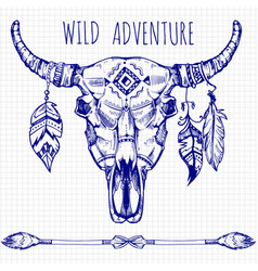 hand drawn buffalo skull with feathers and arrows vector image vector image