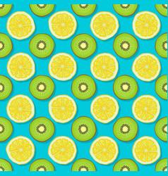 kiwi and lemon seamless pattern on blue background vector image vector image