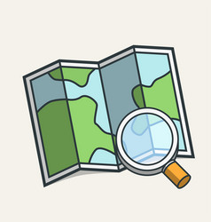 magnifying glass on map icon travel concept vector image
