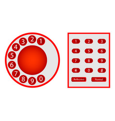 Numbers from phones disk and push-button vector