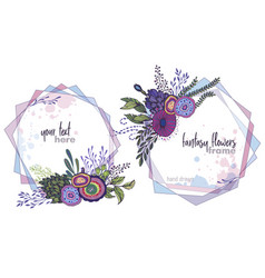 set of two colorful floral frames with vector image