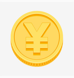 yen symbol on gold coin vector image