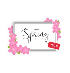 Cherry blossom frame or hello spring flowers vector