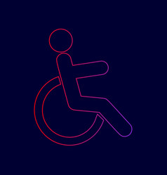 disabled sign line icon with vector image vector image