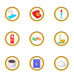 Hotel cleaning service icons set cartoon style vector