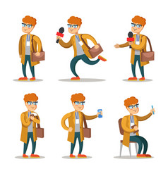 journalist cartoon character set vector image