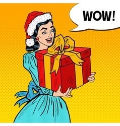 Pop Art Happy Woman Holding Christmas Gift Box vector image vector image