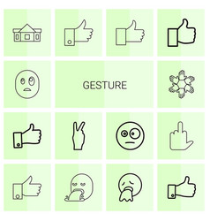 14 gesture icons vector image