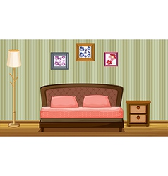 A bed and lamp vector