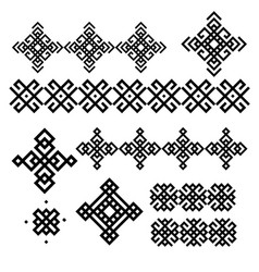A set black and white geometric designs signs vector