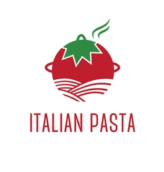 Abstract icon tomato with pasta vector