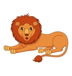 Amusing cartoon lion regally lying with fluffy vector
