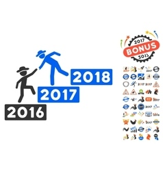 Annual Gentleman Help Icon With 2017 Year Bonus vector
