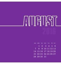 August 2016 year calendar vector