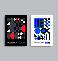 bauhaus modern posters with geometric shapes vector image