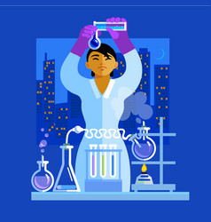beautiful young asian woman scientist holding vector image