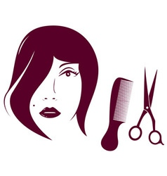 beauty woman face with comb and scissors vector image