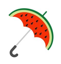 Big watermelon slice cut with seed Umbrella shape vector