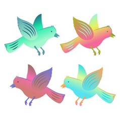 Birds in flight collection vector