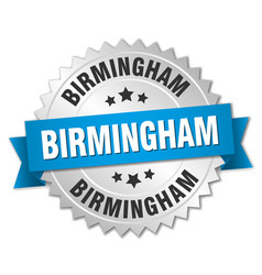 Birmingham round silver badge with blue ribbon vector