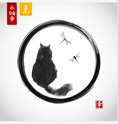 black fluffy cat watching over dragonflies in vector image