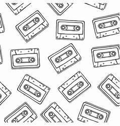 black white cassette cartoon seamless pattern vector image