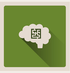 Brain looking for a problem on green background vector