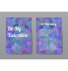 Brochure Happy Valentines Day with Purple Hearts vector image