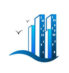 building city wavy beach logo vector image