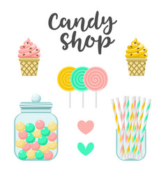 Candy shop sweets constructor colorful vector