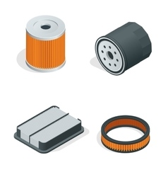 Car filters isometric set Car parts flat 3d vector