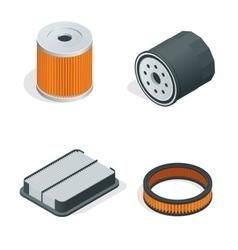Car filters isometric set parts flat 3d vector