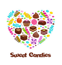 Caramel lollipop candies and chocolate sweets flat vector