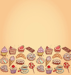 Card Hand drawn confectionery set croissant vector image