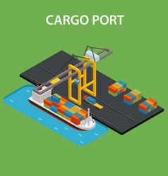 cargo port isometric vector image