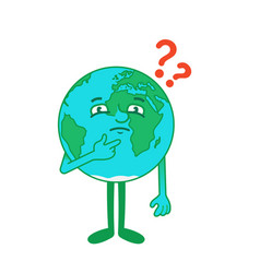 Cartoon character earth with questions vector