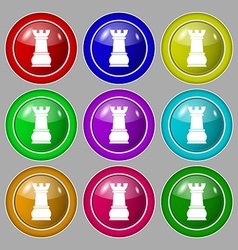 Chess Rook icon sign symbol on nine round vector image