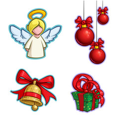 Christmas cartoon icon set angel hanging balls vector