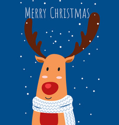 christmas greeting card and cute reindeer vector image