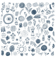 collection of hand drawn floral nature and vector image