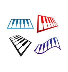 Collection of piano music logo and icon design vector