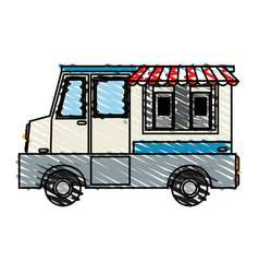 Color crayon stripe cartoon food mobile truck vector