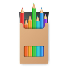 Color pencil set in the yellow box vector
