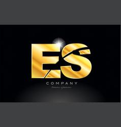 combination letter es e s gold golden alphabet vector image