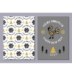 Creative Holiday postcard Merry Christmas and vector image