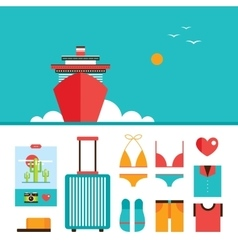 Cruise liner boat background and Summer vacation vector image
