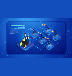 cryptocurrency mining vector image
