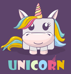cute cartoon character square unicorn and logo vector image
