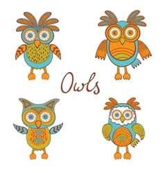 Cute funny owls vector image